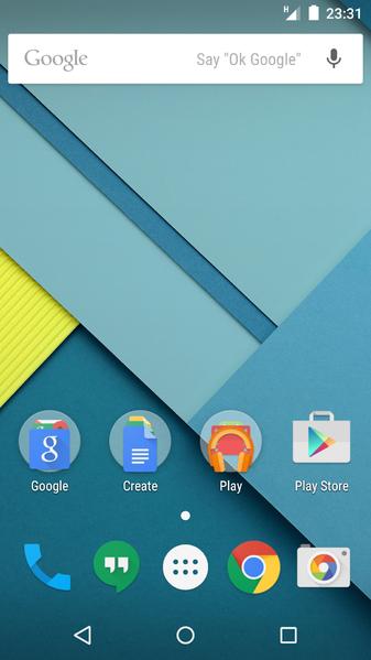 Android ロリポップのホーム画面例